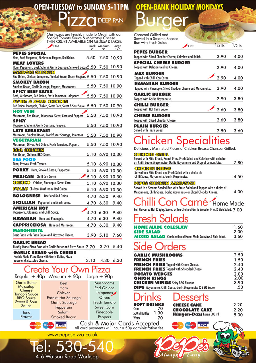 Pepes Pizza Of Worksop Menu